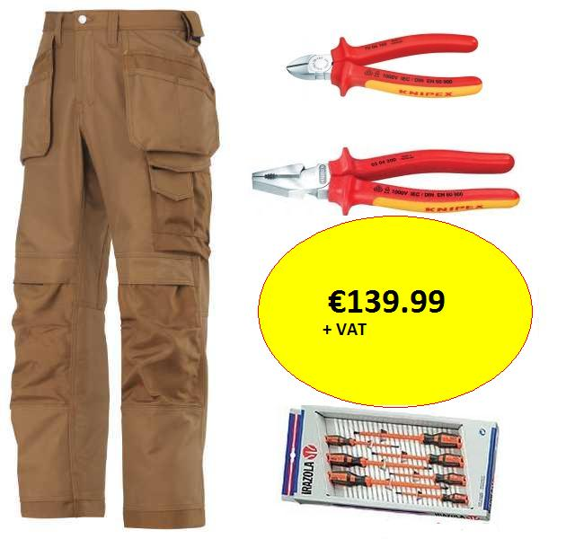 A fantastic offer for the professional electrician. This offer includes Snickers best selling Canvas+ work trousers, a fully insulated 7 piece Irazola (Bahco) screwdriver set, also included in this offer is a Knipex VDE insulated 200mm pliers and a Knipex VDE insulated 180mm side cutters. This offer qualifies for free delivery.